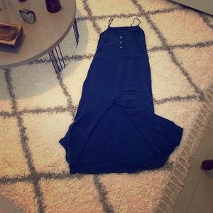 Express metallic dark blue long dress. 3/4 or M.